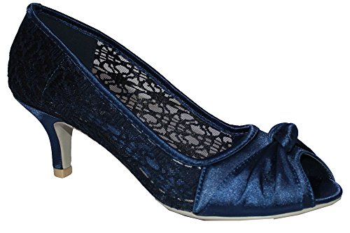 Ladies Satin Lace Evening Wedding Party Low Mid Heel Peep Toe Shoes...