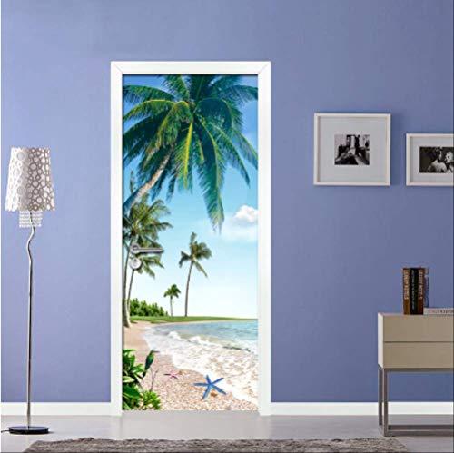Preisvergleich Produktbild YPS-618 Strand Kokospalme Blauer Himmel 3D Fototapete Wandbild Wohnzimmer Badezimmertür Aufkleber Selbstklebende wasserdichte Vinyl Tapeten 77 * 200 cm