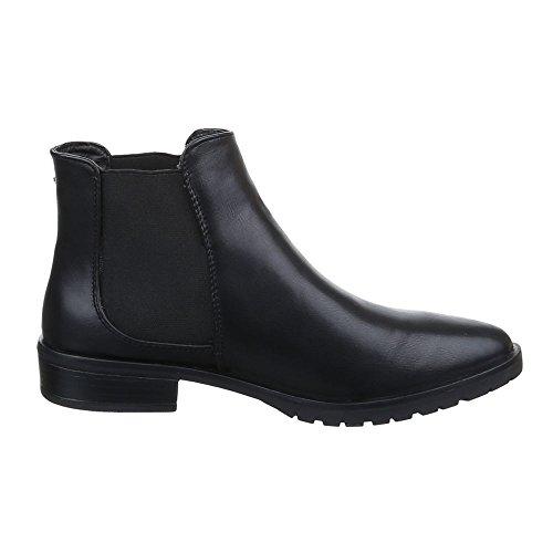 Scarpe Da Donna, 6230-1, Stivaletti Chelsea Boots Neri