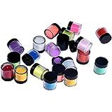 Tongshi 18 colores para uñas de acrílico extremidades del arte del gel ULTRAVIOLETA del polvo del polvo del diseño de la decoración 3D DIY de la decoración fijadas