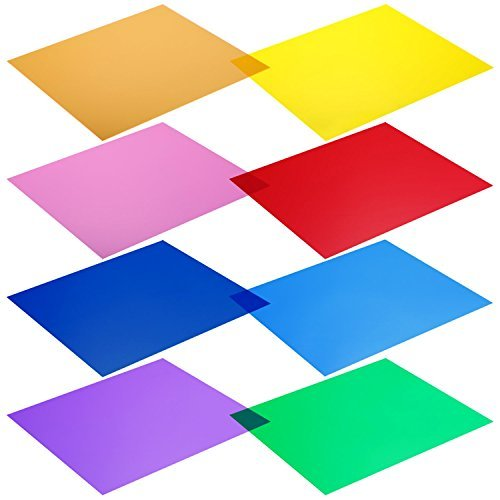 Neewer 30 x 30cm Transparente Farbkorrektur-Licht-Gel-Filter Set Packung: 8 Gel Blätter für Fotostudio Blitzlicht (Rot, Gelb, Orange, Grün, Lila, Rosa, Hellblau, Dunkelblau)
