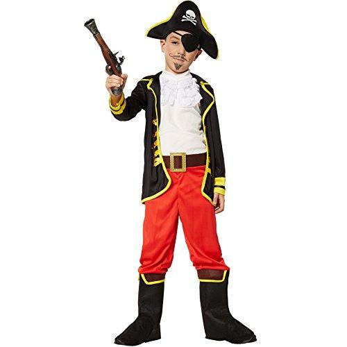 Dressforfun 900356 - costume da bambino principe pirata, giacca a manica lunga, camicia con volant, paio di pantaloni con gambali ad imitazione del risvolto degli stivali e cintura, incl. cappello e benda per l'occhio (164 | nr. 301763)