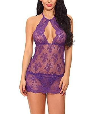 Feoya Dessous Lingerie Set Sexy Damen Unterkleid Mitte öffnen Spitze Kurz Unterröcke Frauen Neglige Minikleid Slim fit elastisch schlüpfen Kleid mit G-String