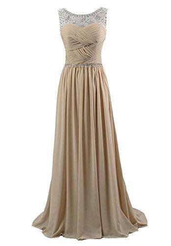 Kmformals Damen Perlen Lang Chiffon Formale Abschlussball Abendkleid Brautjungfer Kleider Größe 58 Champagner Größe 28-kleid-formale Kleid