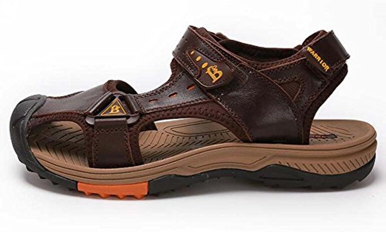 GLSHI Sandalias para Hombres al Aire Libre Baotou Sandalias Respirables de Cuero Ocasionales Zapatos de Playa