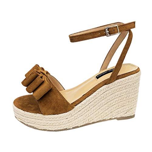 Dragon868 Sandali Donna Scarpe Eleganti con Tacco Alto 8.5cm Scarpe A Zeppa Volant con Cinturino alla Caviglia Sandals Punta Aperta retrò Boemia Romani Sandals Shoes