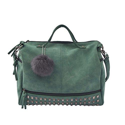 HAOXIAOZI Mode Nieten Hand Schulter Damen Retro Freizeittasche,Green-OneSize