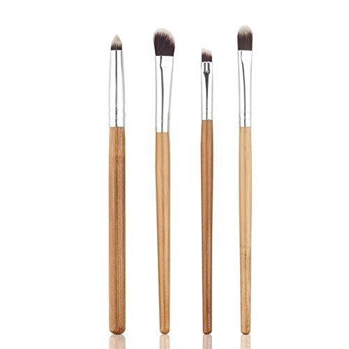 Oshide 4 pcs Poignée en bambou Lot de œil de brosse Cosmétique de maquillage sourcils Eyeliner Fard à paupières Fond de teint Estompeur Fard à joues outils kit