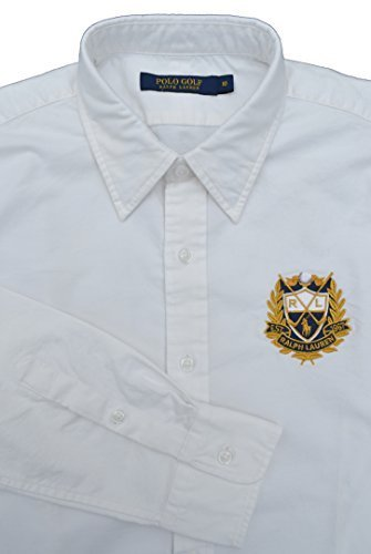 RALPH LAUREN Langarm-Shirt / Hemd GOLF PARKER, SIZE:10 / Gr.44, WHITE, RL CREST (Crest Golf Shirt)