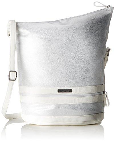 Metallic Pu-geldbeutel-handtasche (Tamaris Damen Smirne Hobo Bag Umhängetasche, Weiß (White Comb), 33x15x28 cm)
