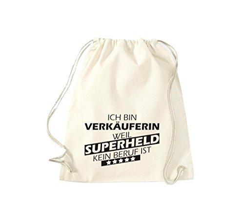 Shirtstown Borse palestra Ich bin Assistente negozio, weil Super eroe niente Occupazione è - Viola, 37 cm x 46 cm naturale