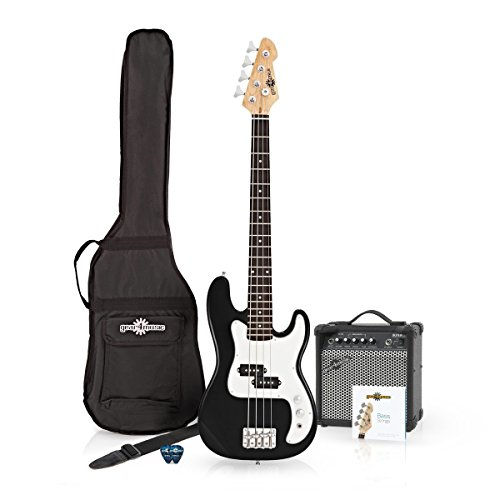 LA E-Bass in 3/4-Größe in schwarz - Bündel mit Verstärker