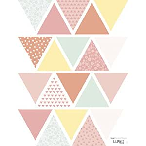 Lilipinso and Co - Sticker vinyle - Planche de stickers triangles Patchwork