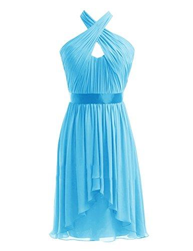 Fanciest Damen Halter Chiffon Kurz Brautjungferkleider Wedding Party Kleider Black Blue