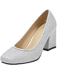 AgooLar Femme à Paillette Fermeture d orteil à Talon Correct Chaussures  Légeres 76daca13c61
