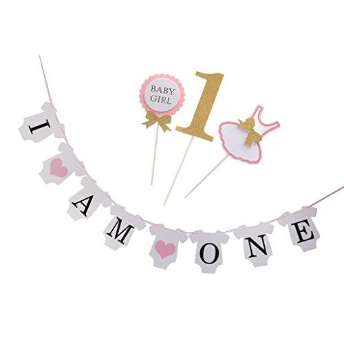 Sharplace Banner Girlande mit 3pcs Kuchen Topper Dekoration für Baby Party - Rosa (Topper 3 Erste Hochzeitstorte)