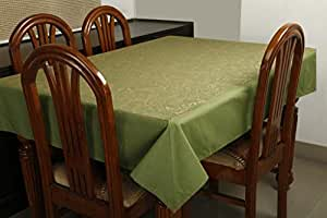 Dekor World Gold Printed Green Table Cover