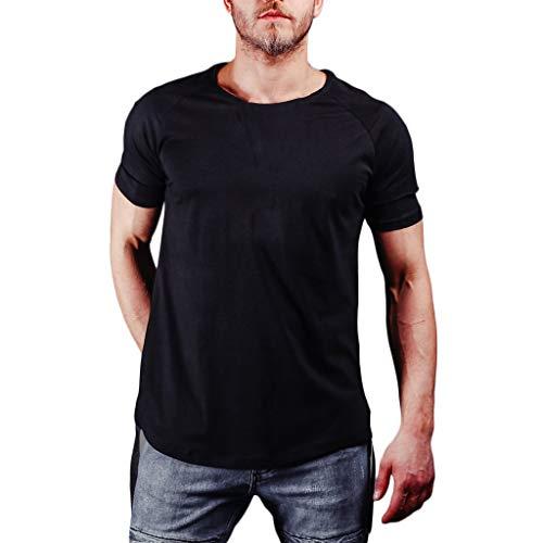 Xmiral Herren Sommer T-Shirt Rundhals-Ausschnitt Slim Fit Polyester Moderner Männer T-Shirts Crew Neck Hoodie-Sweatshirt Kurzarm lang(XL,Schwarz)