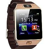 """Gold Leave DZ09 Smart Watch Bluetooth Montre de Sport Intelligente 1.54"""" Écran Tactile Avec Caméra Support Micro SIM carte Sync appel SMS, Notification pour Téléphone Andorid Samsung / HTC / LG / Huawei / ZTE et fonctions partielles pour IOS Apple Iphone 6/6 Plus/5/5c/5s"""