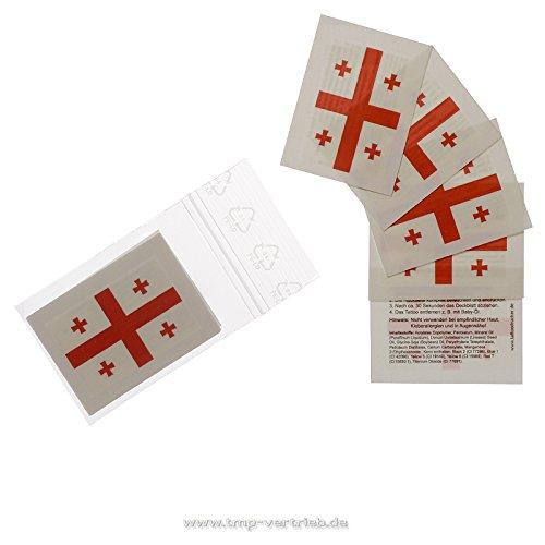 Georgien Tattoo Fahne 5er Fan Set - EM Fanartikel 2016 - Georgia Flag