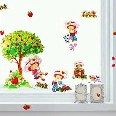 Fragolina dolcecuore–Strawberry Shortcake–Splendida–Adesivi da parete con albero e