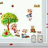 Emily Erdbeer - Strawberry Shortcake - herrlicher Wandsticker - mit Baum und Schaukel