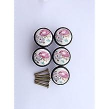 Vida hermosa * 5 piezas de gabinete maneja, el gabinete de perillas de puerta tiradores de muebles perilla perillas de muebles muebles juego de manijas de cerámica Negro Tulip