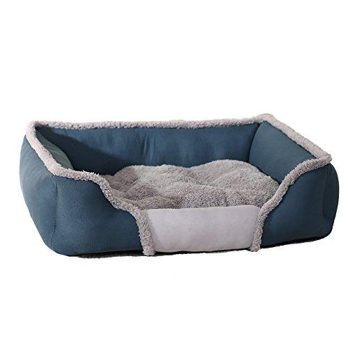 Gudelaa Cama para Mascotas Gatos y Perros medianos pequeños con tapete Reversible cálido Azul