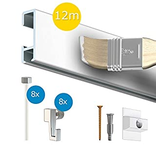 ArtiTeq Click Rail Picture Hanging SystemPack of picture hooks included.12m White Aluminium Gallery Rail Picture Hanging Wire Picture Hooks Screws and Anchors