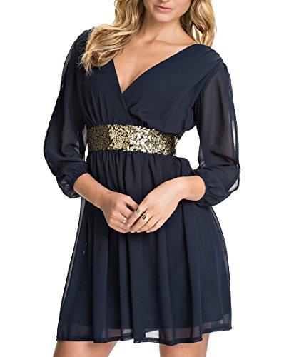 MYWY - Abito donna vestito corto svasato elegante stretto in vita paillettes maniche lunghe sexy Blu