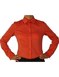 e71f33578a219e Perano 5259 Damen Bodybluse, Blusenbody, langarm, tailliert, einfarbig,  hell blau, lachs rot, schwarz,…