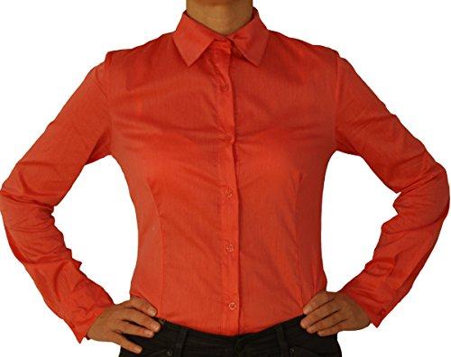 5259 Blouse corps de la femme, manches longues, effilées, couleur unie, bleu clair, saumon rouge, noir, blanc, S, M, L, XL. saumon rouge