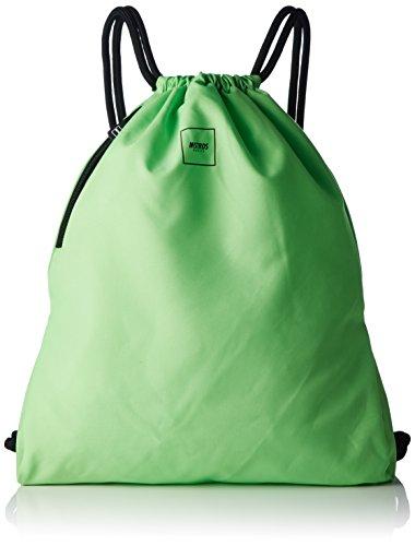 MSTRDS Unisex Basic Gym Bag Rucksack neon green One einfarbiger Turnbeutel im Hipster Stil Neon-grüner Reißverschluss