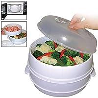 Olla de 2 niveles para microondas, vaporizador, verduras, pasta, olla de cocción saludable