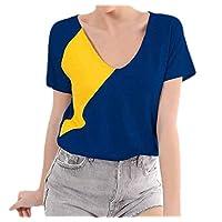 GAGA Women Color Block Patchwork V Neck Blouses Short Sleeve Loose Tops Casual T Shirt Blue XL