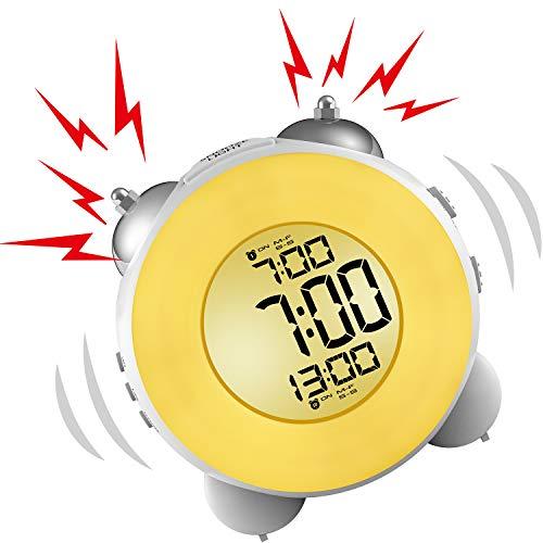 Banne Bon lauter Wecker, Nicht Ticken, Nachttisch, batteriebetrieben, Schlummerfunktion, Nachtlicht für schwere Schläfer