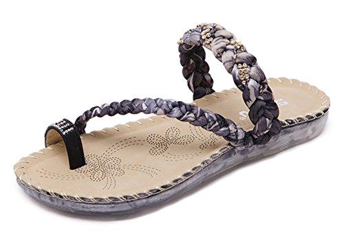 Minetom Donna Estate Dolce Boemia Strass Treccia Gruppo Sandali Moda Infradito Piatte Toe Tie Scarpe Piatto Spiaggia Nero