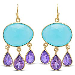 Imitation Gemstone Blue Earrings for Girls Women