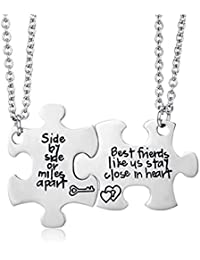Poshzone 2 Pcs Silver Best Friends Necklaces Set Pizza Best Friend Gifts for Teen Girls BFF Friendship Necklaces