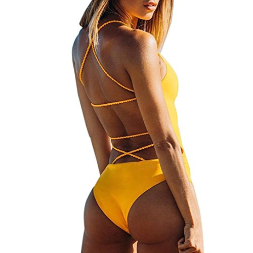 One Piece Bademode Frauen Bandage Thong Bikini Badeanzug Bade Beachwear Reizvolle Push-Up Gepolsterte Bade Backless Bikini Fashion Jumpsuits Swimwear Triangle Bikini (S, Gelb) (60 S Und 70 S Kostüme)