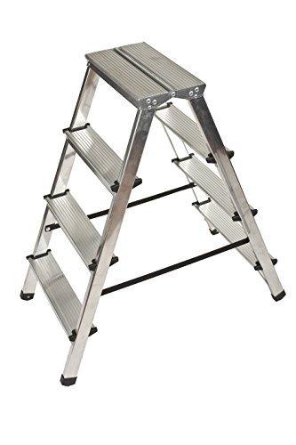Aluminium Trittleiter Leiter beidseitig begehbar, 2x4 Stufen, 150kg Traglast TÜV geprüft