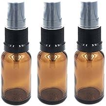Paquete de 3 Botellas de Vidrio Ámbar de 15ml con Tapa de Atomizador Negro. Ideal