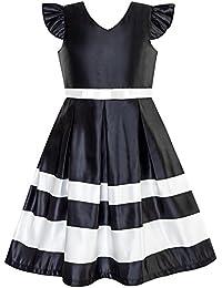 21952f280e6 Sunny Fashion Robe Fille Marine Bleu Encolure en V Ruban Couleur Contraste  6-12 ans