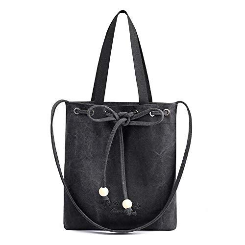 WWAVE Handtaschen für Damen-Schulter-Handtaschen Arbeiten Sie Kordelzug-Dame-beiläufige Leinentasche Handtasche um -