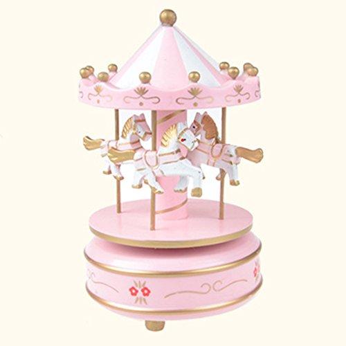 Hisuper Merry Go Round Musical carrusel caballo de madera carrusel caja de música de juguete juego infantil Home Decor Christmas Wedding Birthday Gift - Rosa