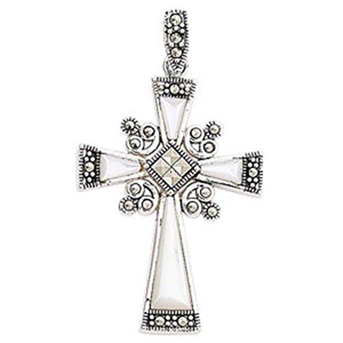 Da uomo, in argento Sterling con madreperla e Marcasite Ciondolo a forma di croce su una collana di corda in pelle nera, argento, colore: Black/Silver, cod. 1745-M24