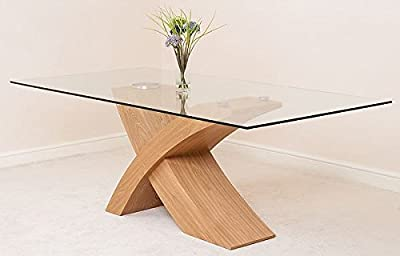 Modern Furniture Direct Valencia Glass and Wood Dining Table, Large, Beige