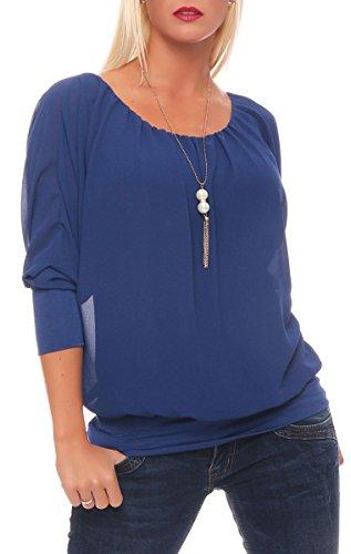 Malito Damen Bluse mit passender Kette   Tunika mit ¾ Armen   Blusenshirt mit breitem Bund   Elegant - Shirt 1133 (blau)