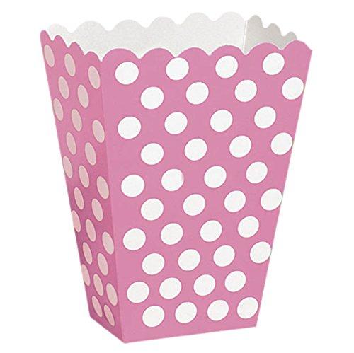 y Dekoration Popcorn-Box - Polka Dot - 8 Stück, 14 x 9cm, Pink (Rosa Tupfen-luftballons)