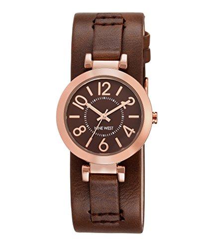 Nine West Damen Quarzuhr mit Braun Zifferblatt Analog-Anzeige und braunem PU-Armband NW/1866bnrg (Nine West Damen Uhren)